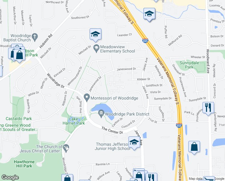 map of restaurants, bars, coffee shops, grocery stores, and more near 11 Wintergreen Ct in Woodridge