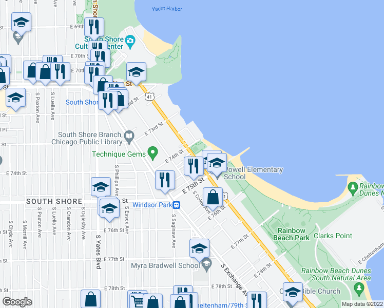 map of restaurants, bars, coffee shops, grocery stores, and more near 7425-7437 South South Shore Drive in Chicago