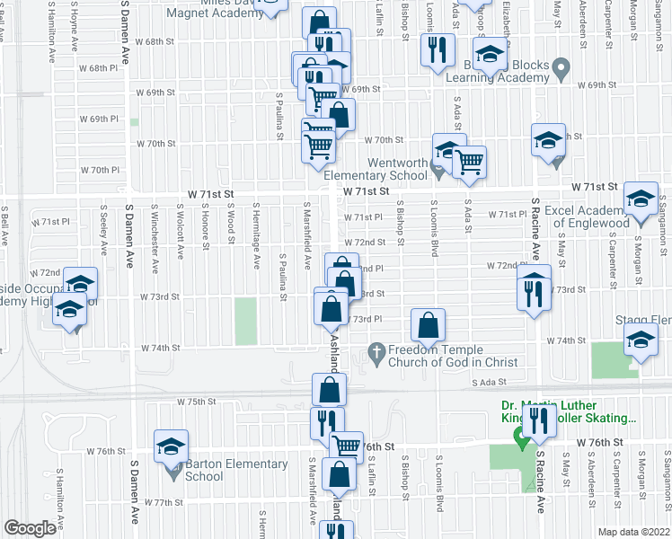 map of restaurants, bars, coffee shops, grocery stores, and more near S Ashland Ave & W 72nd Pl in Chicago