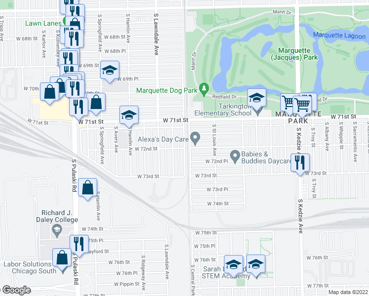 map of restaurants, bars, coffee shops, grocery stores, and more near W 72nd St in Chicago