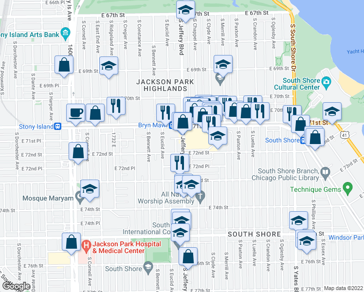 map of restaurants, bars, coffee shops, grocery stores, and more near 7144 S Jeffery Blvd in Chicago