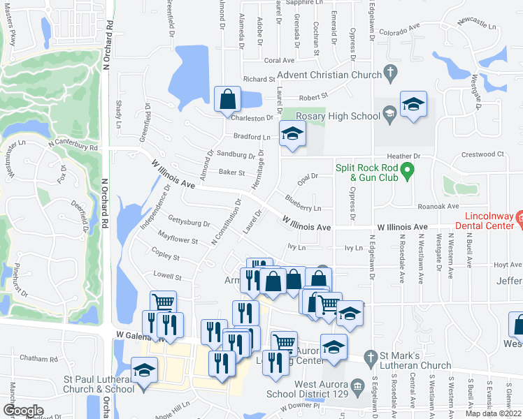 map of restaurants, bars, coffee shops, grocery stores, and more near 601-699 Laurel Drive in Aurora