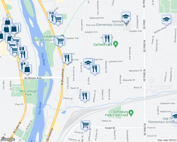 map of restaurants, bars, coffee shops, grocery stores, and more near 405 Saint Joseph Avenue in Aurora