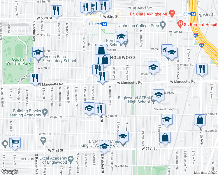 map of restaurants, bars, coffee shops, grocery stores, and more near 6722 South Emerald Avenue in Chicago