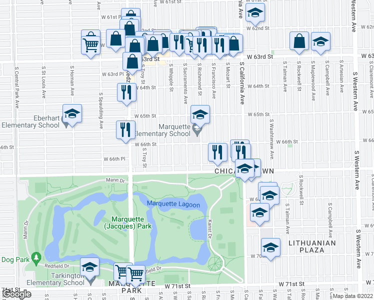 map of restaurants, bars, coffee shops, grocery stores, and more near None in Chicago