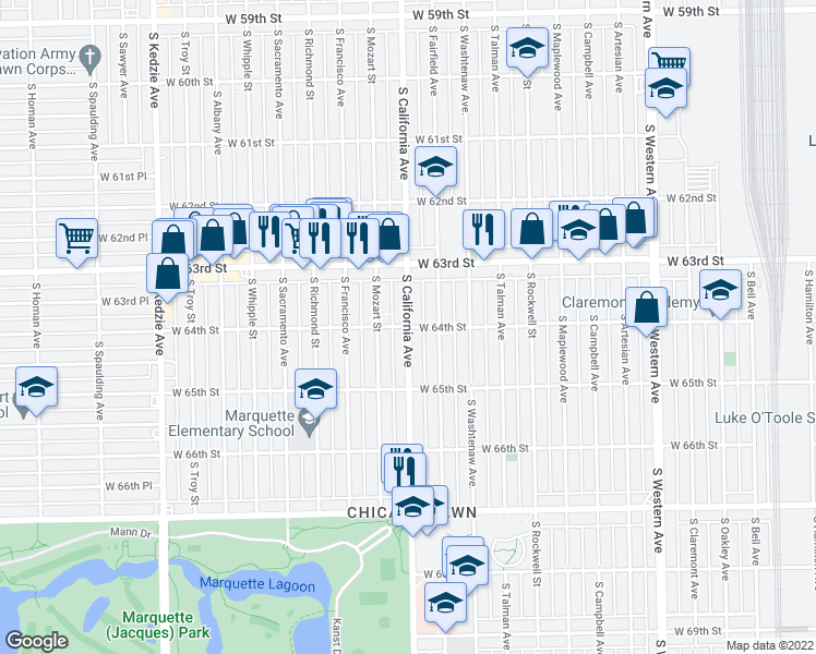 map of restaurants, bars, coffee shops, grocery stores, and more near South California Avenue & West 64th Street in Chicago
