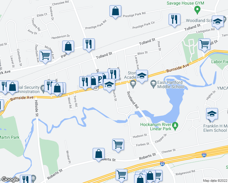 map of restaurants, bars, coffee shops, grocery stores, and more near 36 Church Street in East Hartford
