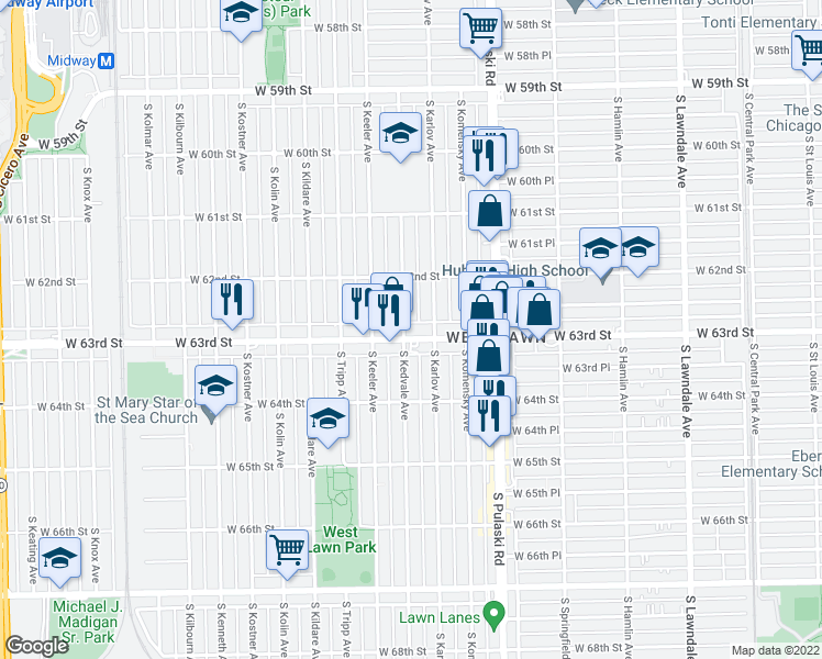 map of restaurants, bars, coffee shops, grocery stores, and more near 4120 West 63rd Street in Chicago