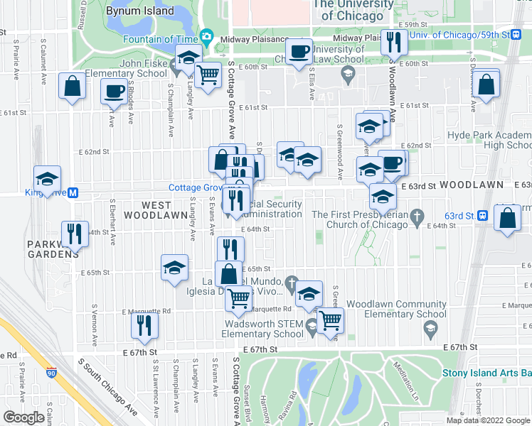 map of restaurants, bars, coffee shops, grocery stores, and more near 857 East 63rd Place in Chicago