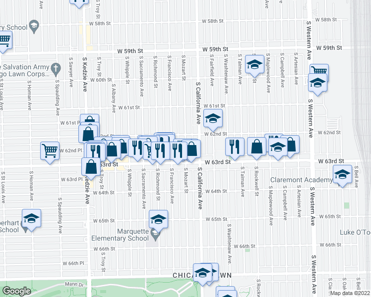 map of restaurants, bars, coffee shops, grocery stores, and more near 6243 S Mozart St in Chicago