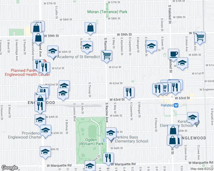 map of restaurants, bars, coffee shops, grocery stores, and more near 6211 S Racine Ave in Chicago