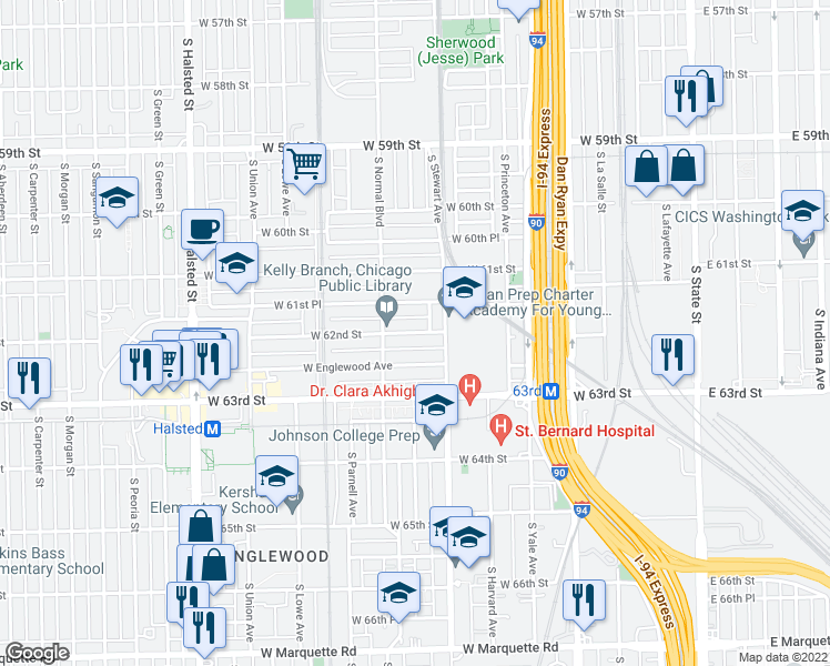 map of restaurants, bars, coffee shops, grocery stores, and more near 450 West 62nd Street in Chicago