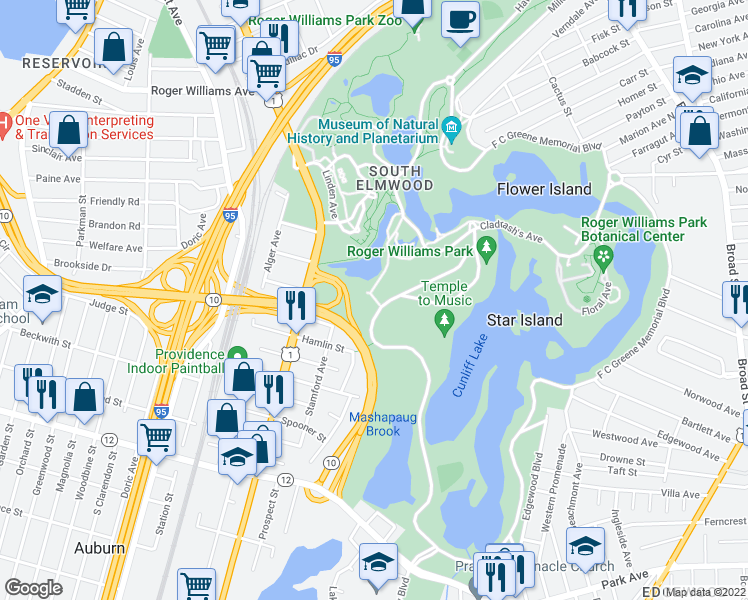 map of restaurants, bars, coffee shops, grocery stores, and more near Hillside Ave in Providence