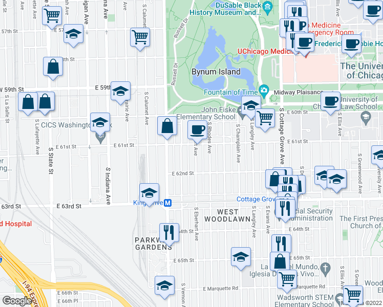 map of restaurants, bars, coffee shops, grocery stores, and more near 6118 S Eberhart Ave in Chicago
