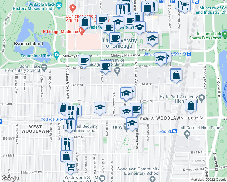 map of restaurants, bars, coffee shops, grocery stores, and more near 6122 South Greenwood Avenue in Chicago