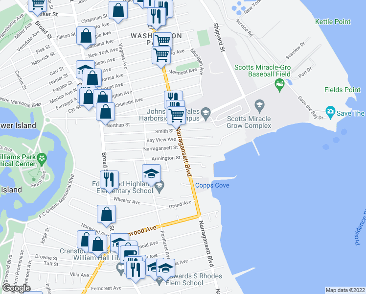 map of restaurants, bars, coffee shops, grocery stores, and more near Narragansett Blvd & Narragansett St in