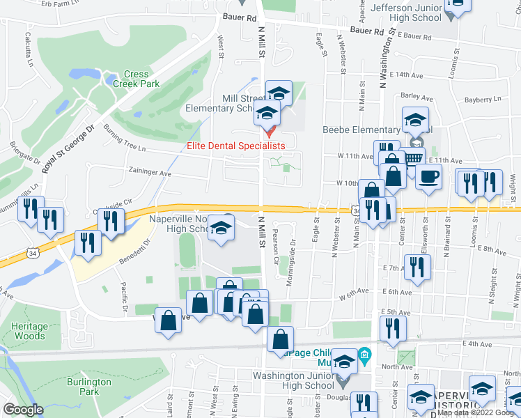 map of restaurants, bars, coffee shops, grocery stores, and more near West Ogden Avenue in Naperville