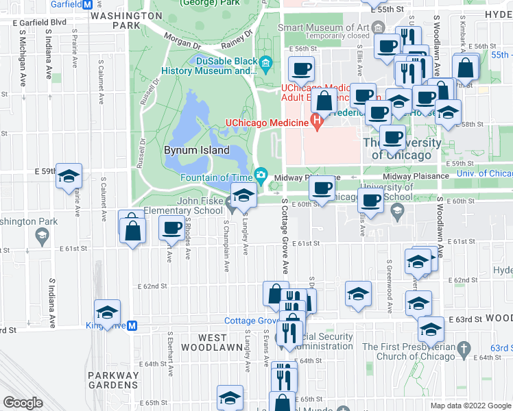 map of restaurants, bars, coffee shops, grocery stores, and more near 727 E 60th St in Chicago