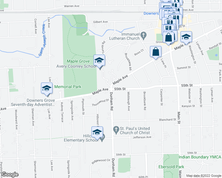map of restaurants, bars, coffee shops, grocery stores, and more near 5500-5510 Dunham Rd in Downers Grove