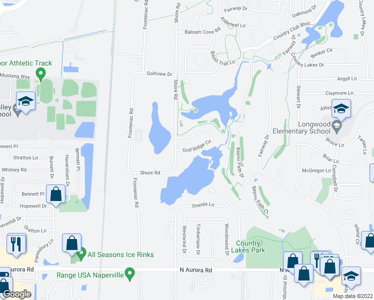 map of restaurants, bars, coffee shops, grocery stores, and more near 2417 Golf Ridge Cir in Naperville