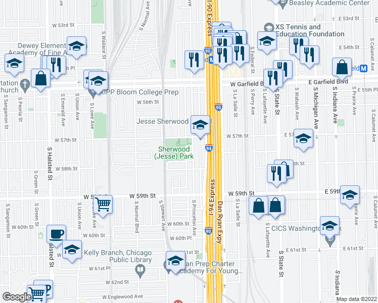 map of restaurants, bars, coffee shops, grocery stores, and more near 5726 South Princeton Avenue in Chicago