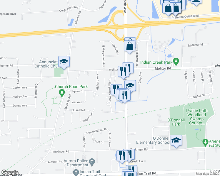 map of restaurants, bars, coffee shops, grocery stores, and more near 1675 North Marywood Avenue in Aurora