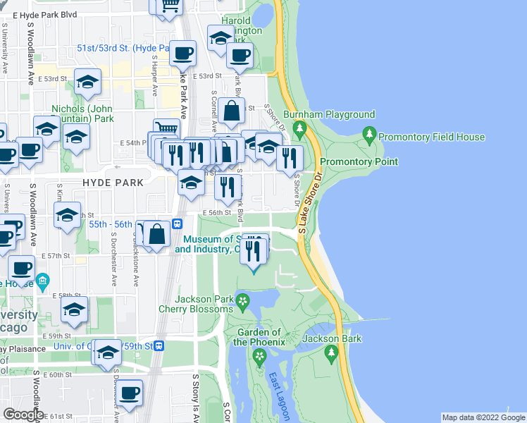 map of restaurants, bars, coffee shops, grocery stores, and more near E 56th St & S Everett Ave in Chicago