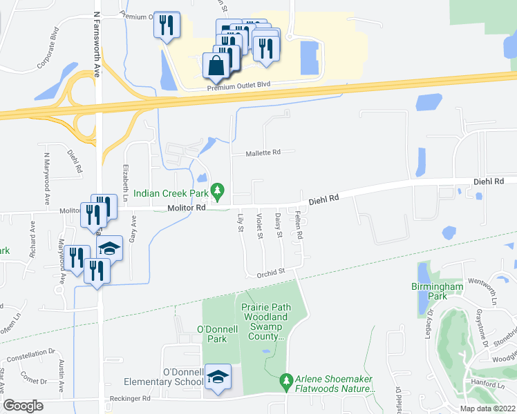 map of restaurants, bars, coffee shops, grocery stores, and more near 1700 Molitor Rd in Aurora