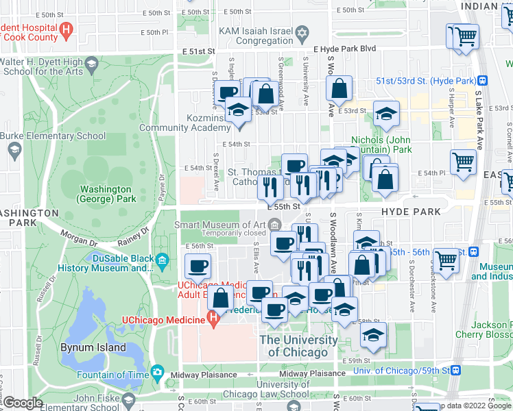 map of restaurants, bars, coffee shops, grocery stores, and more near 5500-5544 S Ellis Ave in Chicago