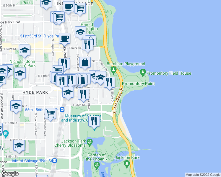 map of restaurants, bars, coffee shops, grocery stores, and more near 5500 S Shore Dr in Chicago