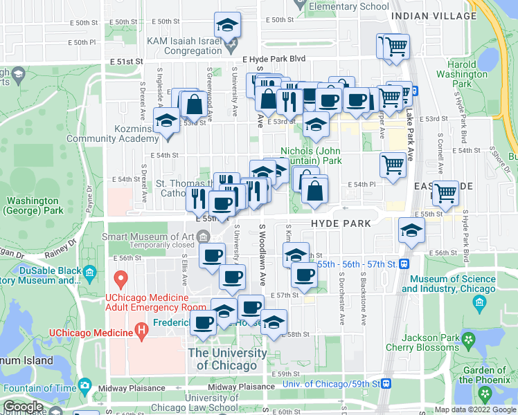 map of restaurants, bars, coffee shops, grocery stores, and more near 5484 South Woodlawn Avenue in Chicago