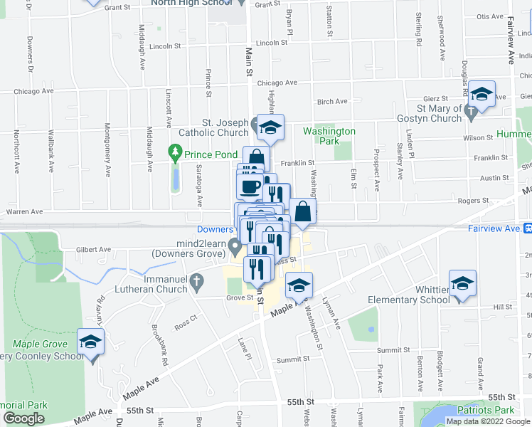 map of restaurants, bars, coffee shops, grocery stores, and more near 965 Rogers Street in Downers Grove