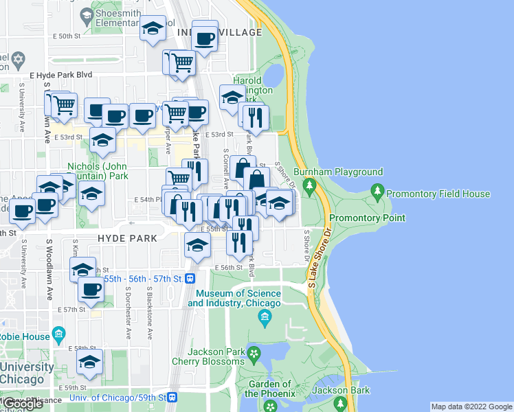 map of restaurants, bars, coffee shops, grocery stores, and more near 5471 South Hyde Park Boulevard in Chicago