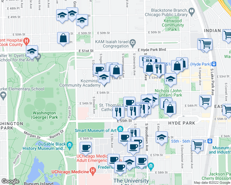 map of restaurants, bars, coffee shops, grocery stores, and more near 5412 S Ellis Ave in Chicago