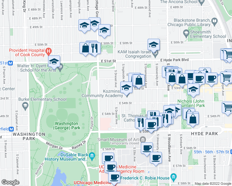 map of restaurants, bars, coffee shops, grocery stores, and more near 5235-5299 South Drexel Avenue in Chicago