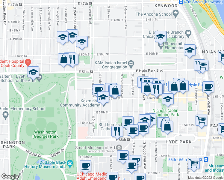 map of restaurants, bars, coffee shops, grocery stores, and more near 5200 S Ellis Avenue in Chicago