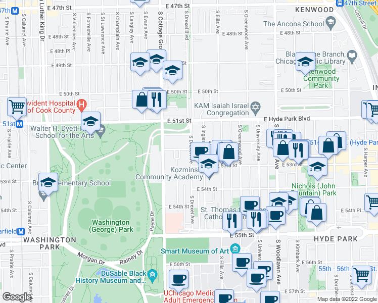 map of restaurants, bars, coffee shops, grocery stores, and more near 5206 South Drexel Avenue in Chicago
