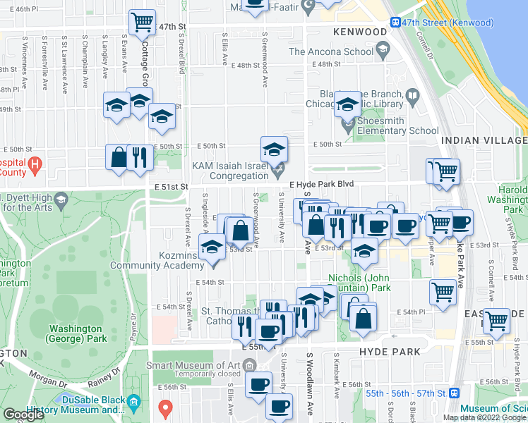 map of restaurants, bars, coffee shops, grocery stores, and more near 5141 South Greenwood Avenue in Chicago