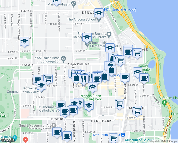 map of restaurants, bars, coffee shops, grocery stores, and more near 5130 South Kenwood Avenue in Chicago