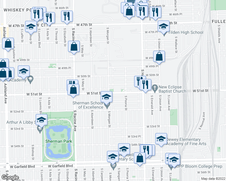map of restaurants, bars, coffee shops, grocery stores, and more near 940 W 51st St in Chicago