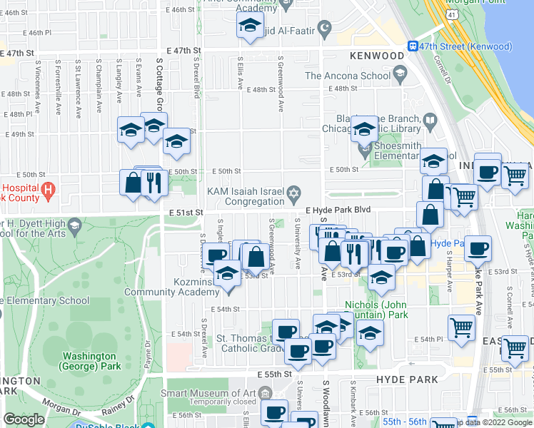 map of restaurants, bars, coffee shops, grocery stores, and more near 1031 East Hyde Park Boulevard in Chicago