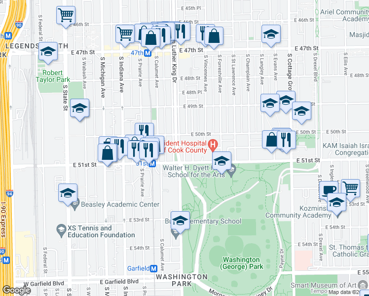 map of restaurants, bars, coffee shops, grocery stores, and more near 429 East 50th Street in Chicago