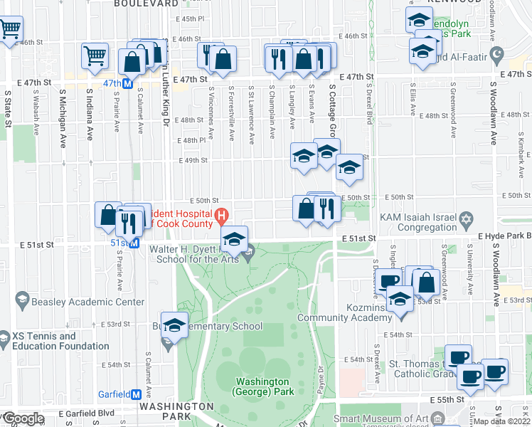 map of restaurants, bars, coffee shops, grocery stores, and more near 616 East 50th Place in Chicago