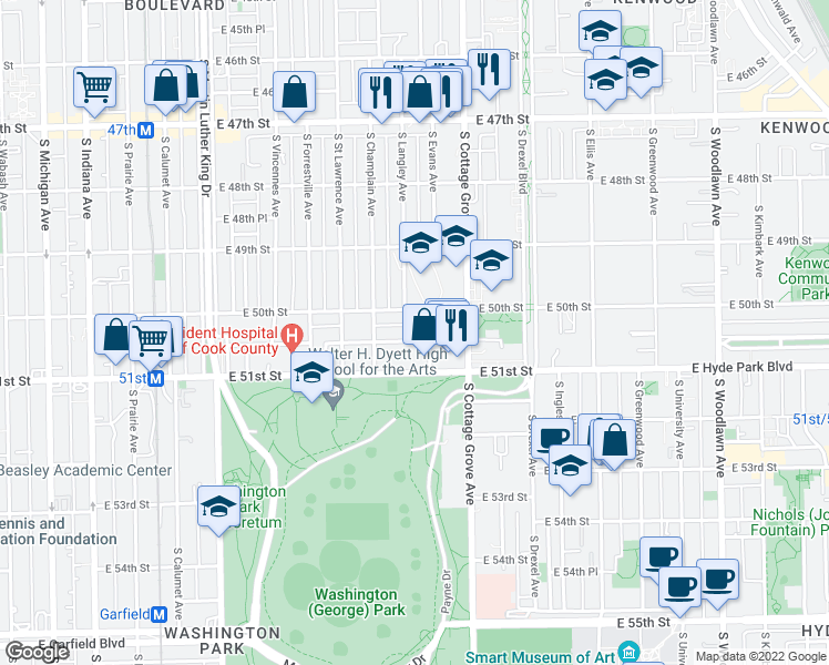 map of restaurants, bars, coffee shops, grocery stores, and more near 706 East 50th Place in Chicago
