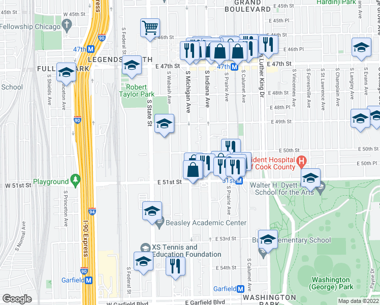 map of restaurants, bars, coffee shops, grocery stores, and more near S Michigan Ave & E 50th St in Chicago