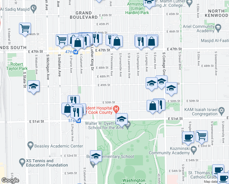 map of restaurants, bars, coffee shops, grocery stores, and more near 4923 South Vincennes Avenue in Chicago