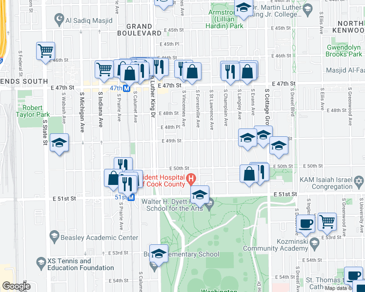 map of restaurants, bars, coffee shops, grocery stores, and more near 4908 South Vincennes Avenue in Chicago