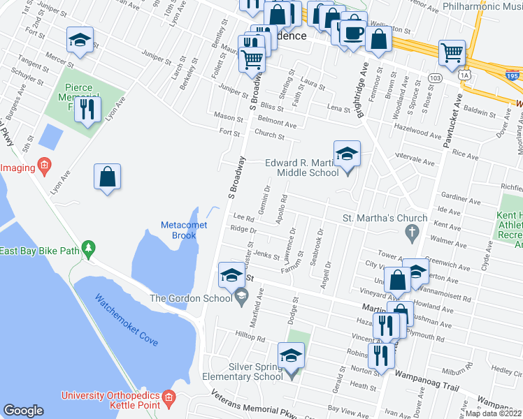 map of restaurants, bars, coffee shops, grocery stores, and more near 26 Lee Road in East Providence