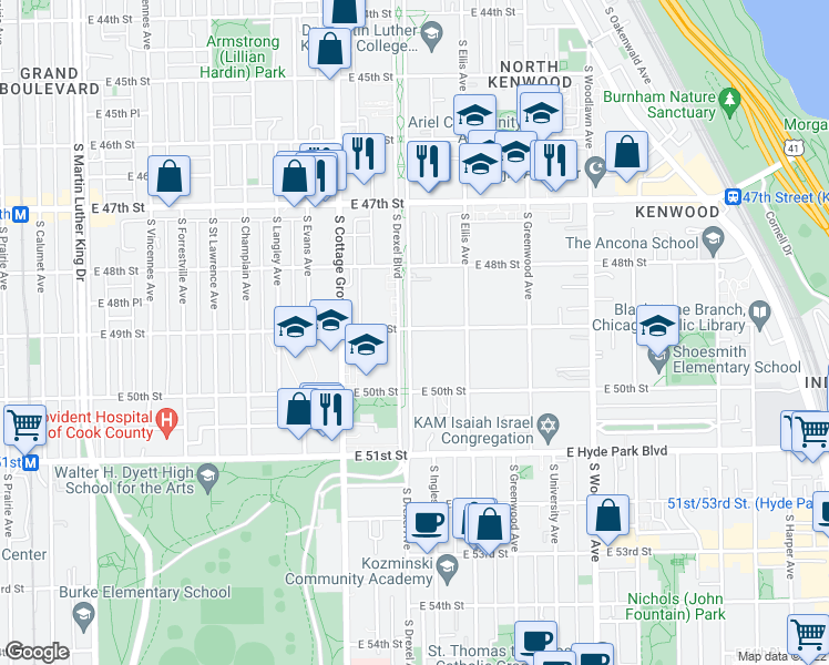 map of restaurants, bars, coffee shops, grocery stores, and more near 4901 South Drexel Boulevard in Chicago