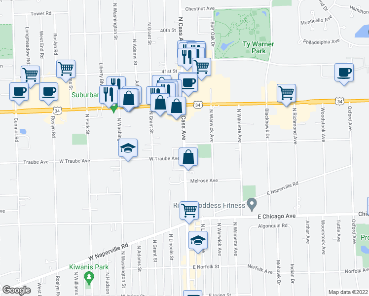 map of restaurants, bars, coffee shops, grocery stores, and more near 510 N Cass Ave in Westmont